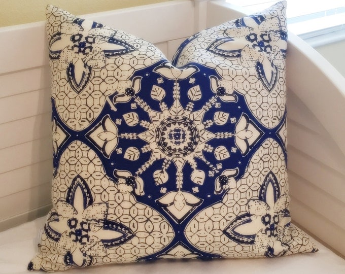 Quadrille China Seas New Batik New Navy and White (on Both Sides) Designer Pillow Cover - Square, Lumbar and Euro Sizes