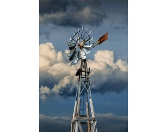Windmill at 1880 Town Frontier Museum Prairie Farm in South Dakota No.490 Color Wall Decor Fine Art Landscape Photography