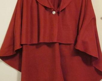 Ladies Crimson Fleece Cape - One size fits most
