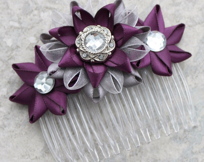 Flower Hair Comb, Deep Purple Hair Accessory, Silver and Aubergine Hair Comb, Bridal Hair Comb, Wedding Hair Accessories, Wedding Hair Piece