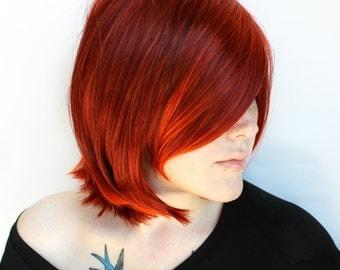 SALE Short Red Wig. Red Bob wig. Medium Red Ombre wig. Red Orange Scene wig. Cosplay wig | Flaming Phoenix