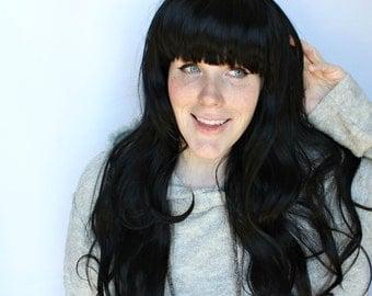 SALE Long black wig | Wavy curly black wig | Black scene wig with bangs | Obsidian