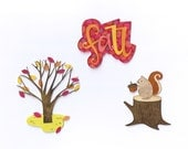 """Set of 3 Die Cuts: Autumn Tree, """"Fall"""", and Squirrel with Acorn"""