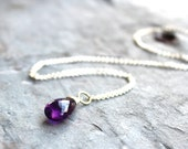 Amethyst Necklace February Birthstone Purple Gemstone Pendant Necklace, Sterling Silver Rolo Chain
