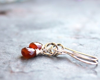 Spessartite Earrings Petite Orange Rust Garnet Sterling Silver Dangle Earrings