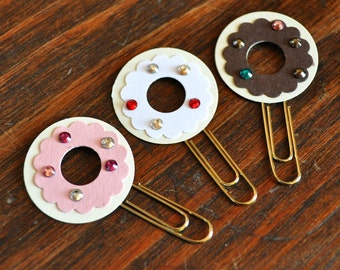 Mini Donut Paperclip Bookmarks Set of 3 Choose from Vanilla or Chocolate