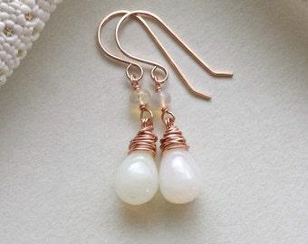 SALE Ethiopian Opal Dangle, Welo Opal Earrings, Minimalist Opal, Opal Dangle, Rose Gold Drops, October Birthstone, 35% Off