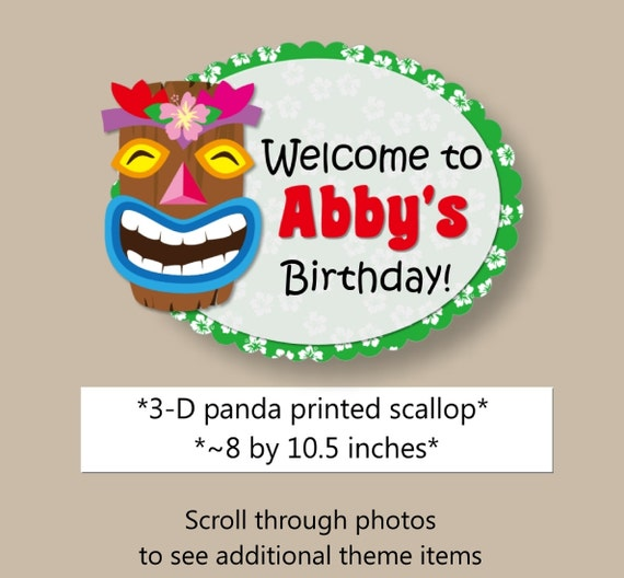 Il_570xn  sc 1 st  Catch My Party & Kids Luau Birthday Party Decorations Door Sign - Banner Cake Topper ...