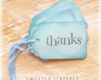 MYSTERY SALE... Blue THANKS Tags ... Ocean Color, Tinted Edges, Blue Twine Ties, Favor Tags