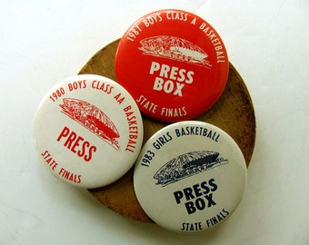 Vintage Press Box Buttons Badges Pins Pinbacks Press Room Basketball University Illinois State Farm Memorabilia Sports Decor Collectibles