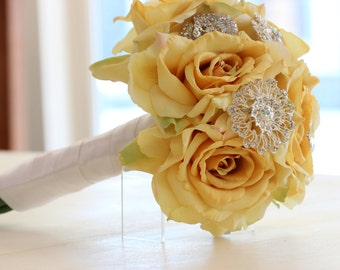 Yellow Brooch Bouquet | Crystal Silver Brooches, Pearls, Rhinestones | Alternative Bridal Bouquet In Stock Ready To Ship Handcrafted 1000667