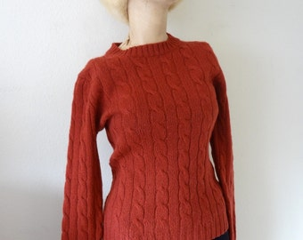 1970s Wool Sweater - cable knit crew neck pullover - preppy vintage