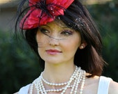 Red couture fascinator, Kentucky derby hat, Royal ascot hats, red cocktail hat, wedding