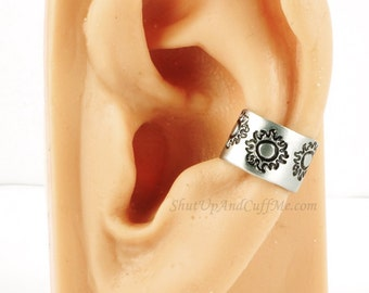 Flaming Sun Ear Cuff - Aluminum Stamped Ear Cuff