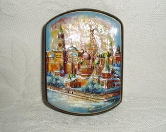Russian Handpainted small Lacquer Box Moscow St. Basil's Cathedral Mother of Pearl