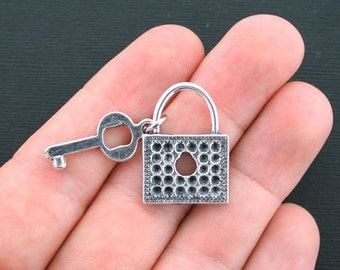 3 Lock and Key Charms Antique Silver Tone 2 Piece Charm - SC1271