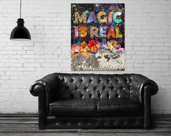 Magic is Real - stretched canvas print, bohemian art, canvas art, typographic print, mixed media collage art, colorful cosmic decor