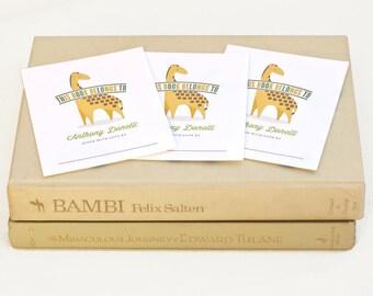 Personalized Bookplate Set, Zoo-themed Baby Shower Bookplates // GENTLE GIRAFFE