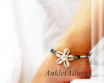 Beach Feet Cowrie Shell Flower Anklet Crystal Blue Anklet Cruise Vacation Beach Ankle Bracelet