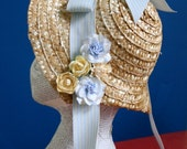Sunny Morning Straw Bonnet, Handmade Flower Accents: Easter, Reproduction or Costume,  Child Size
