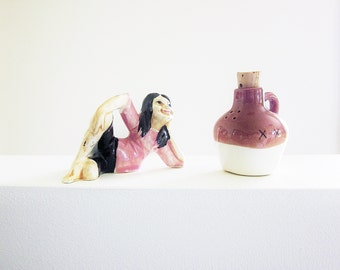 Hillbilly Girl And Moonshine - Vintage Salt And Pepper Shakers - Figural Stereotype - Kitsch Novelty Porcelain Collectibles - Mid Century