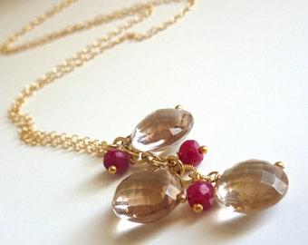 Champagne Citrine Jewelry. November Birthstone. Citrine and Genuine Ruby Delicate Necklace. Gold Fill.