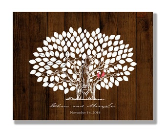 Wedding Guestbook -Wood Wedding tree Rustic Wedding Tree To Be Personalized With Guest's Signatures - 17x22 - Signature Guestbook