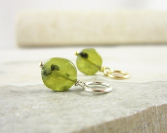 Olive Green Vessonite Garnet - Natural Stone Jewelry - Sterling Silver Charms - Bright Green Garnet Jewelry - January Birthstone