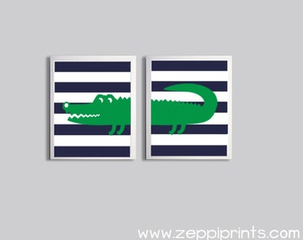 Nursery Girl Boy Navy Kelly Green Art Alligator Stripe Zoo Safari Jungle Wetlands Set of 2