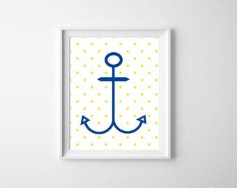 Nautical Ocean Beach Nursery Anchor Kids Room Art Print Royal Blue Yellow Polka Dot