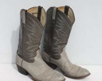 Vintage Cowboy Boots Two Tone Gray Leather Distressed Dan Post 10 D Mens 12 D Womens
