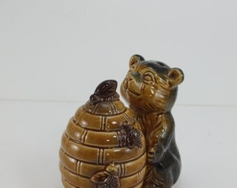 Vintage Salt and Pepper Shakers Bear and Beehive Ceramic Japan