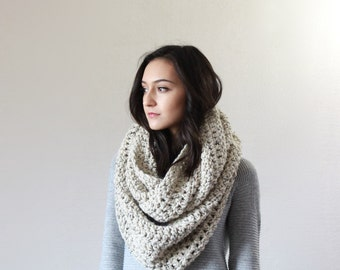 Super Chunky Infinity Scarf, loop scarf, circle scarf, cowl, snood // The Strasbourg - OATMEAL