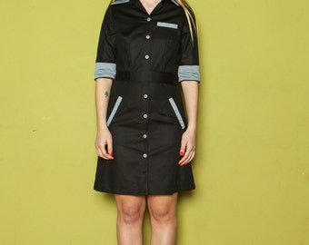 FINAL SALE GET 30% Off Retro style diner dress,Black uniform waitress dress,