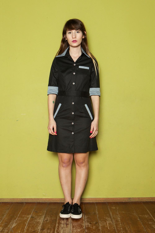 Retro Diner Uniform Retro Style Diner Dress,black