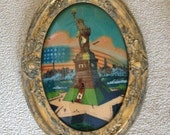 "Antique Oval Gilt Framed Reverse Painting on Convex Glass - ""Statue of Liberty"""