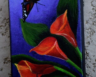 Butterfly Painting - Calla Lillies & Butterfly - nature, original acrylic canvas painting,  Calla Lilly painting, black butterfly