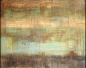 """Abstract Print: Abstract Mixed Media, Vintage Inspired Art, Wall Art, contemporary art print, abstract art print, peach, aqua brown """"Mesa"""""""