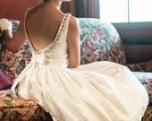 Backless Tea Length Wedding Dress, TWINKLE, White, Ivory, Colors