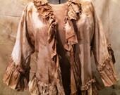Cotton Jacket with 3/4 Sleeve Ruffle Magnolia Mori Prairie Pearl Lagen
