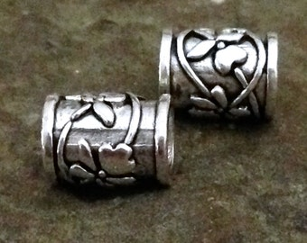 Sterling Silver Flower Tube Beads - 2 Tube Beads 8mm long with Large  4.1mm  ID - MB54