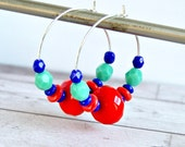 calypso beaded hoop earrings, silver hoops, czech glass earrings, red aqua
