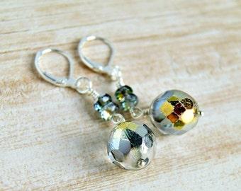 silver beaded drop earrings, dangle, sparkle, wedding, bridesmaid gift, silver gold, czech glass earrings