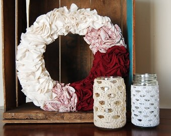 Crochet Mason Jar Candle Holder - Rustic Decor
