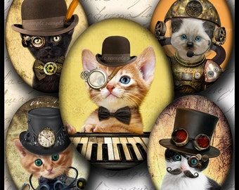 INSTANT DOWNLOAD Steampunk Cat (737) 4x6 and 8.5x11 Oval 30x40mm Printable Digital Collage Sheet  glass tiles cabochon cameo pendants images