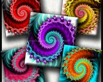 INSTANT DOWNLOAD Colorful Fractals (751) 4x6 Digital Collage Sheet ( 0.75 inch x 0.83 inch ) scrabble tiles resin pendant cabochon images
