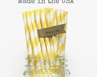 Yellow Paper Straws, Made In USA, 25 Vintage Yellow Wedding Straws, Rustic Baby Shower, Party Supplies, Pink Lemonade Party, Bridal Shower