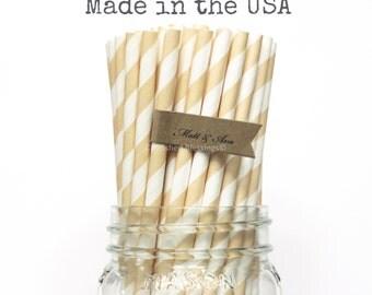 25 Ivory Paper Straws, Cream Straws, Beige Straws, Cake Pop Sticks, Rustic Wedding, Vintage Baby Shower, Birthday Party, bridal Made in USA