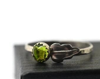 5mm Peridot Ring, Silver Leaf Ring, Customized Gemstone Ring, Amethyst Ring, Garnet Ring, Vesuvianite Ring, Whisky Quartz Ring
