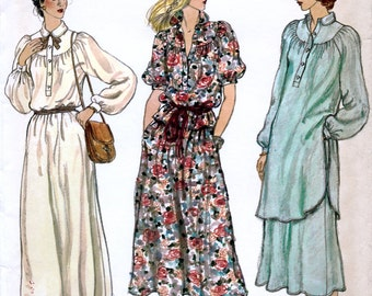 Vogue 7142 Vintage 70s Misses' Dress, Tunic or Top and Skirt Sewing Pattern - Uncut - Size 10 - Bust 32.5